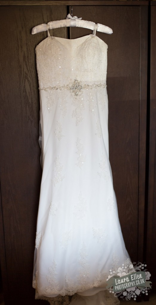strapless ivory lace and beaded wedding dress