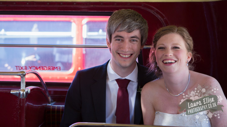 Bride and Groom sitting upstairs on Routemaster