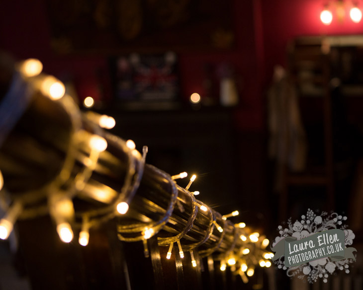 Fairy lights at London pub wedding
