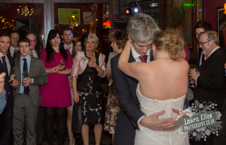 Guests watch wedding first dance at London pub wedding