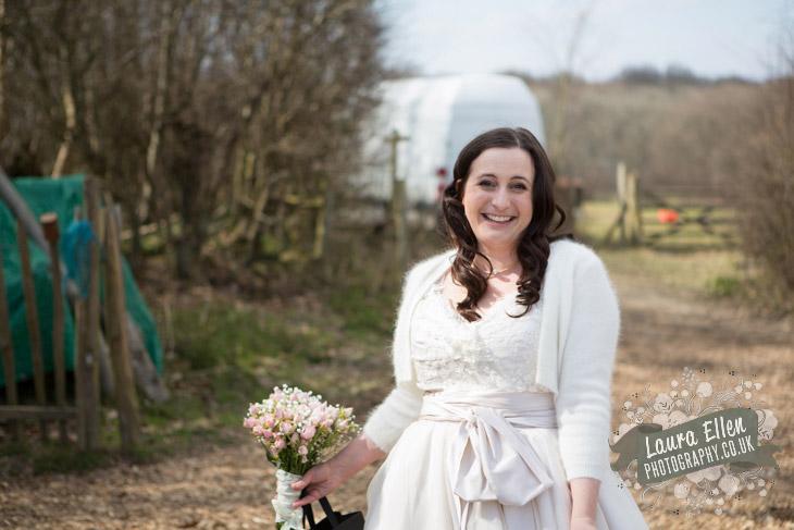 Bride at East Sussex farm wedding