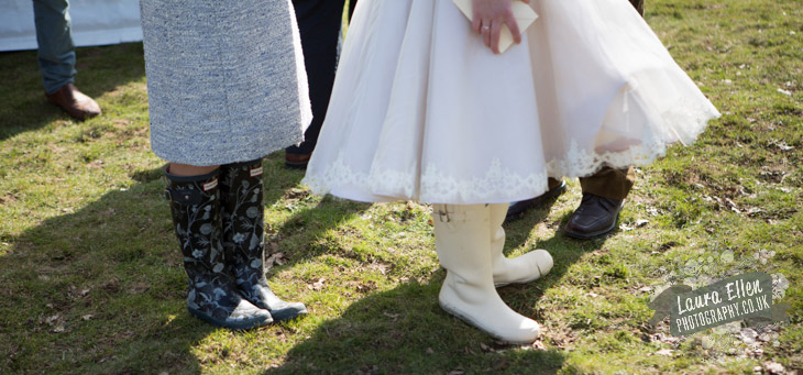Wedding wellington boots at Glamping wedding Sussex