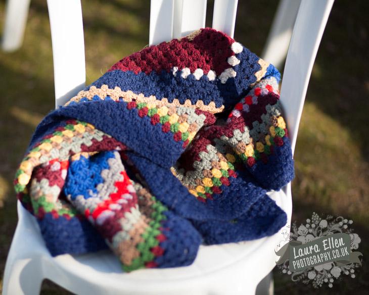 Vintage crochet blanket at Sussex wedding