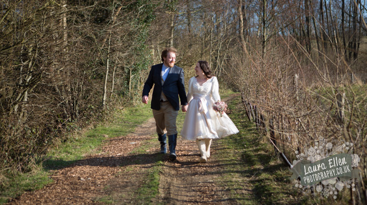 Bride and Groom take a countryside walk