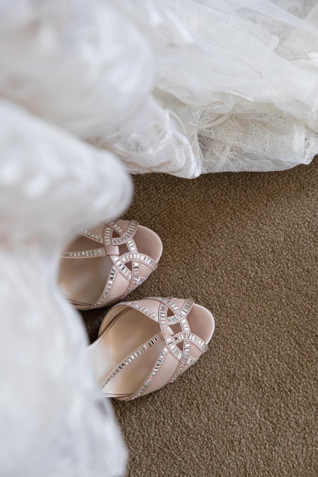 shell pink bride wedding shoes