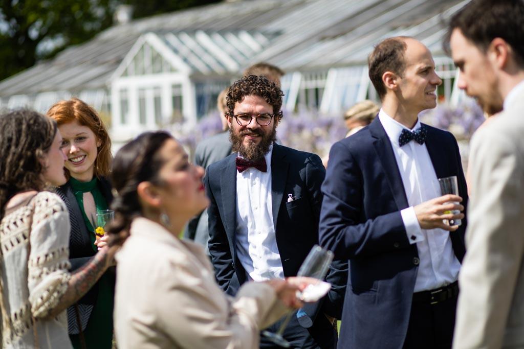 mingling guests at London wedding