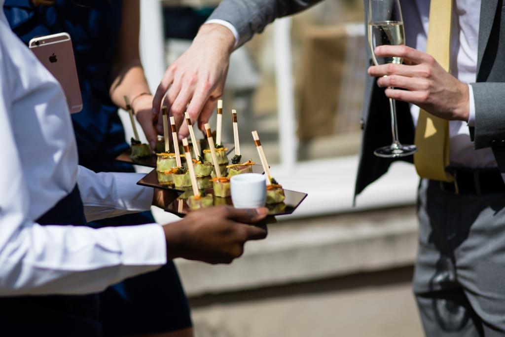 wedding canapes at spring wedding