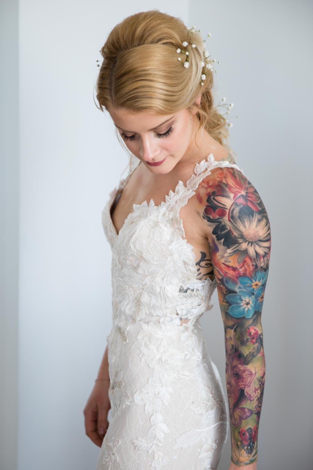 tattooed bride David Fielden wedding dress