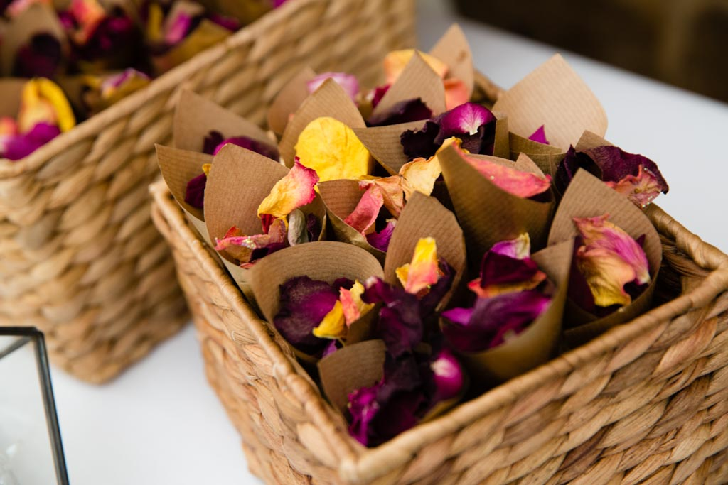 dried rose petal confetti cones