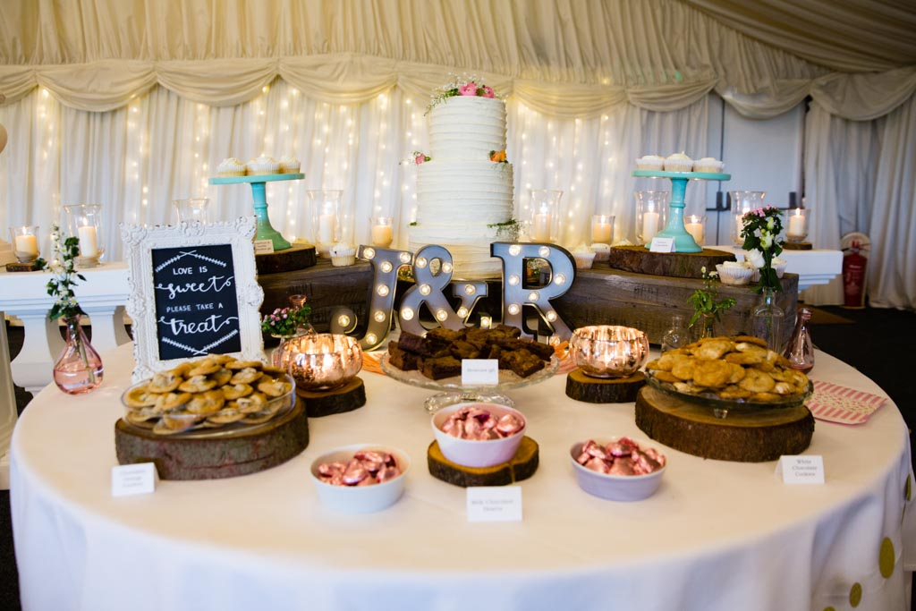 personalised dessert table wedding cake