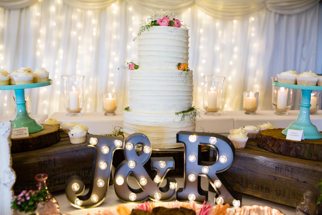 rustic buttercream three tier wedding cake
